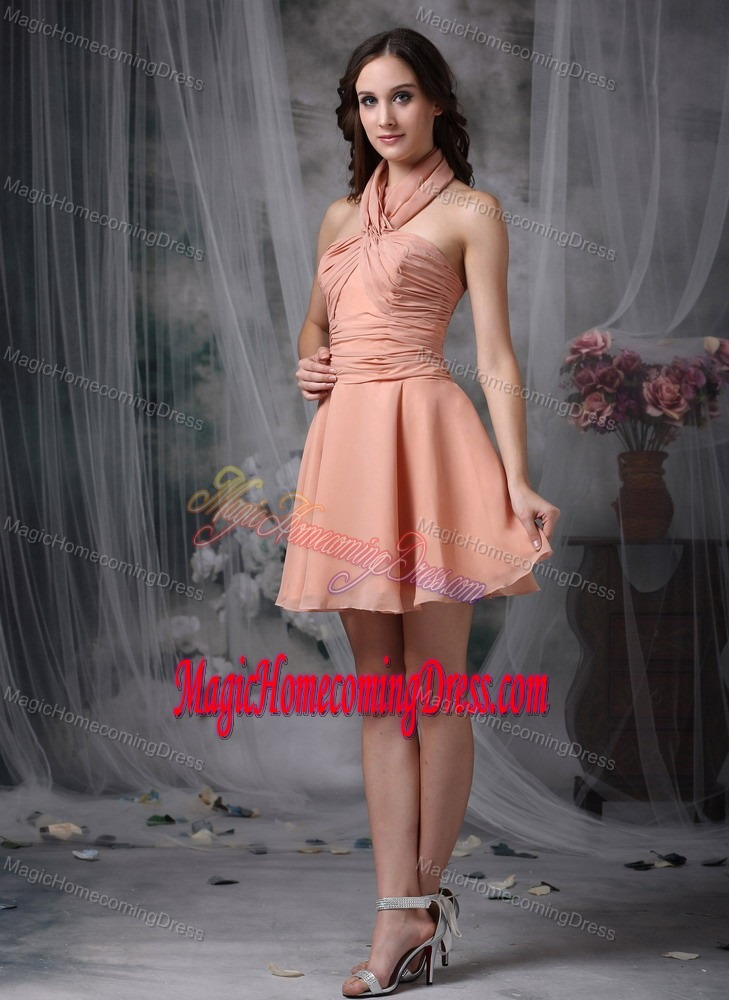 Rust Red A-line Ruched and Mini-length Homecoming Dresses For Juniors