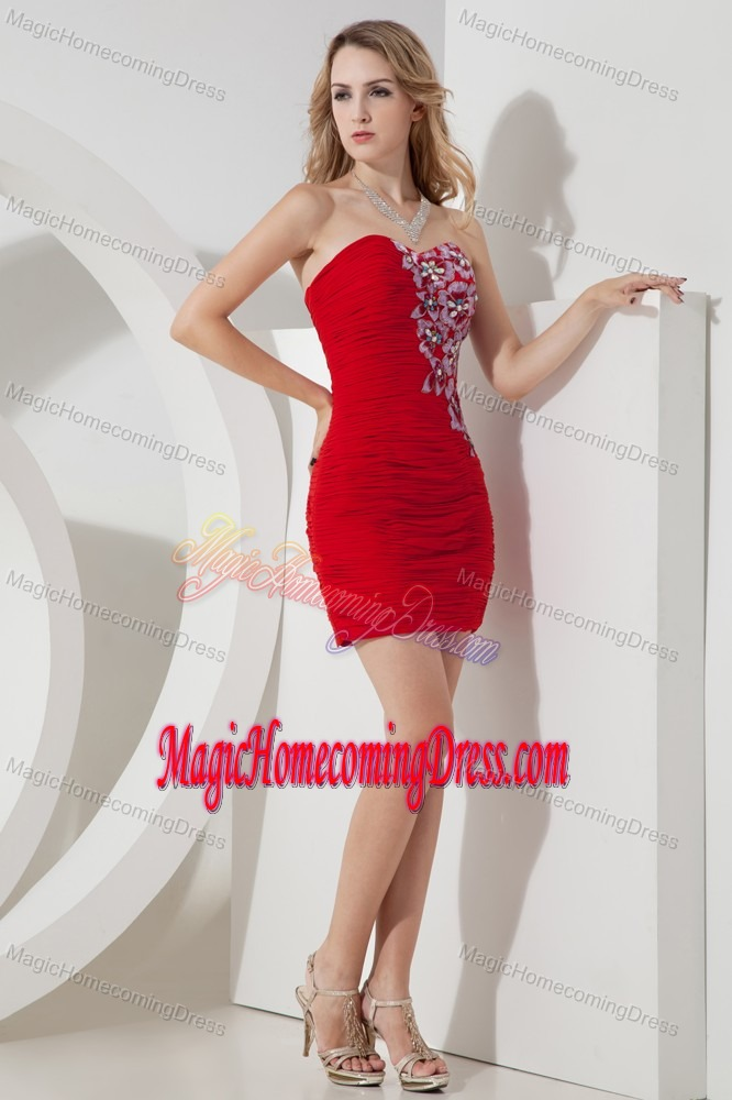 Modest Strapless Red Short Homecoming Dresses with Embroidery in Yate