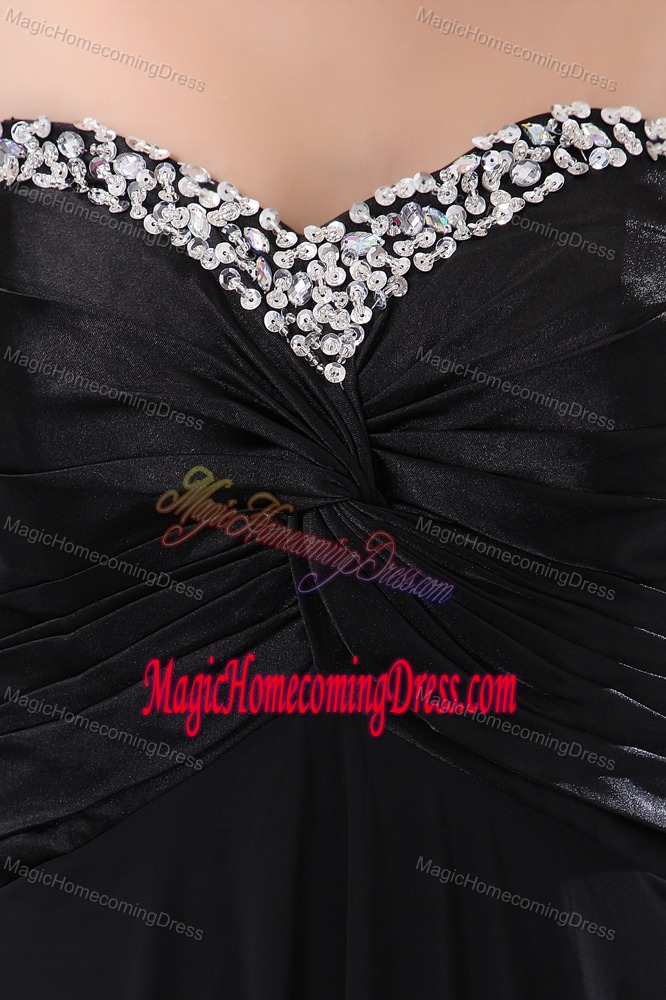 Sweetheart Black Empire Homecoming Queen Dress with Beaded Neckline in Levis