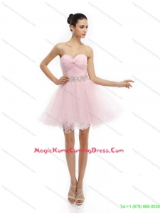 Fashionable Baby Pink Sweetheart Ruching Short Homecoming Dresses for 2015