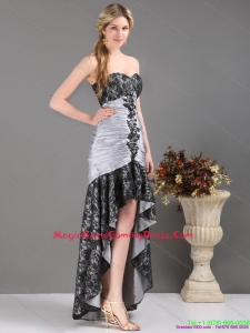 Fashionable High Low Multi Color Homecoming Dresses with Ruching and Appliques