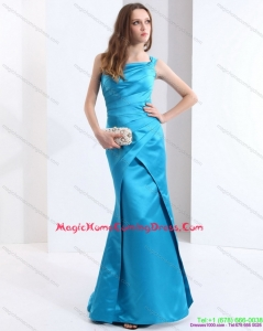 Fashionable One Shoulder Baby Blue Long Homecoming Dresses with Brush Train