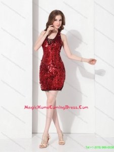 Fashionable Sequins Halter Top 2015 Homecoming Dresses in Red