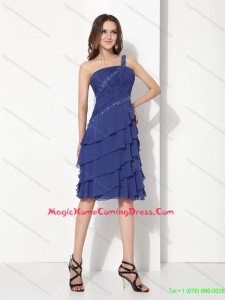 2015 Beaded One Shoulder Knee Length Homecoming Dresses with Ruffled Layers