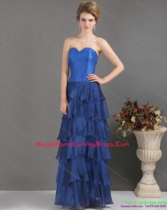 2015 Blue Sweetheart Homecoming Dresses with Ruffled Layers