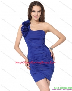 2015 One Shoulder Royal Blue Homecoming Dresses with Hand Made Flower