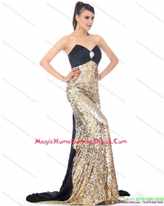Fashionable Brush Train 2015 Homecoming Dress with Ruching and Sequins