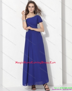 Fashionable One Shoulder Blue Homecoming Dress with Ruching and Beading