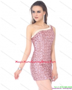 Fashionable One Shoulder Sequins Mini Length Homecoming Dress for 2015