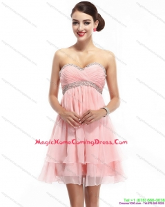 Fashionable Sweetheart 2015 Homecoming Dress with Beading and Ruching