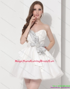 Fashionable Sweetheart Ball Gown Homecoming Dress in White