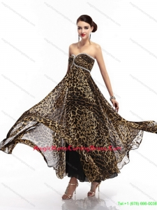 Fashionable Sweetheart Leopard Floor Length Homecoming Dress for 2015