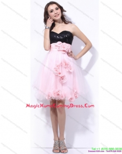 Fashionable Sweetheart Sequins and Hand Made Flowers Homecoming Dresses in Pink and Black