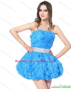 2015 Short Homecoming Dresses On Sale with Rolling Flowers and Beading