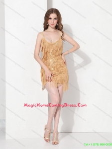 Gold Sequins and Mini Length Macrame Homecoming Dresses On Sale with Spaghetti Straps