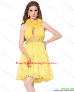 Halter Top Homecoming Dresses On Sale with Beading