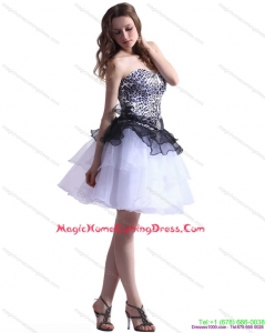 Zebra Printed Sweetheart Homecoming Dresses On Sale with Ruffled Layers