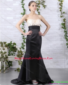 2015 Brush Train Ruching Homecoming Dresses in White and Black