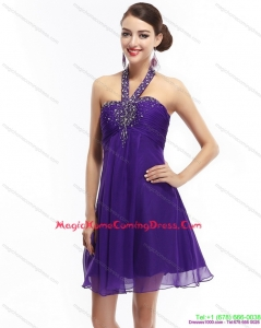 2015 Purple Beading Halter Top Homecoming Dresses with Ruching