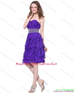 2015 Sweetheart Ruffled Homecoming Dresses with Appliques