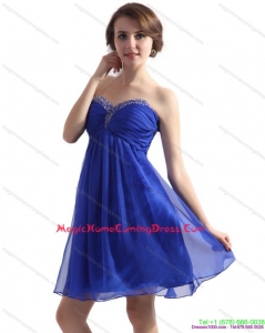 Cute Sweetheart Ruffled Blue 2015 Homecoming Dresses with Beading