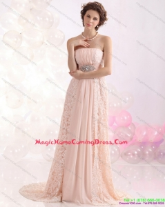Fashionable Strapless Sequins and Lace Homecoming Dress with Brush Train