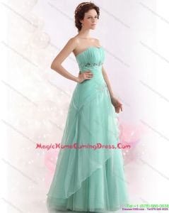 2015 Appple Green Sweetheart Homecoming Dresses with Ruching and Beading
