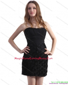 2015 Black Sweetheart Homecoming Dresses with Ruching and Rolling Flowers
