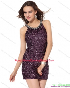 2015 Cute Bateau Mini Length Homecoming Dress with Sequins