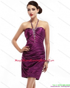 2015 Cute Halter Top Short Homecoming Dresses with Ruching and Beading
