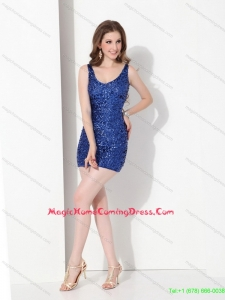 2015 Cute Sequins Scoop Homecoming Dress in Blue