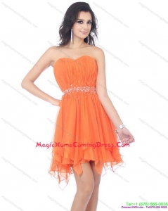 2015 Cute Sweetheart Beading and Ruching Homecoming Dress in Orange