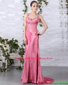 2015 Rose Pink Beading Homecoming Dresses with Brush Train