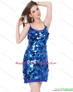 2015 Sequins Spaghetti Straps Homecoming Dresses in Blue