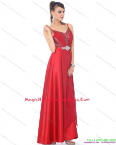 2015 Spaghetti Straps Floor Length Beading Homecoming Dresses