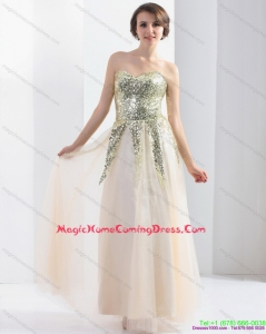 Cute 2015 Sweetheart Floor Length Homecoming Dress with Sequins