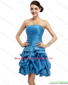 Cute Baby Blue Strapless Homecoming Dresses with Pick Ups and Beading