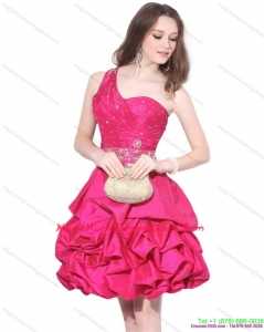 Cute One Shoulder Beading Homecoming Dress with Pick Ups