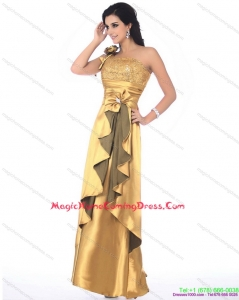 Cute One Shoulder Gold Homecoming Dress with Hand Made Flowers and Ruching
