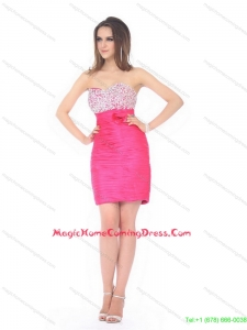 Cute Sweetheart Beading and Ruching Homecoming Dress for 2015