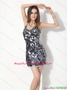 Sliver Sequins Spaghetti Straps Homecoming Dresses for 2015