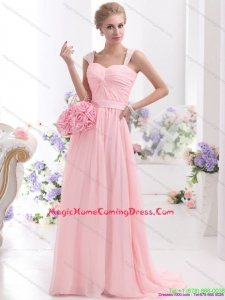 2015 Baby Pink Homecoming Dress with Brush Train and Ruching