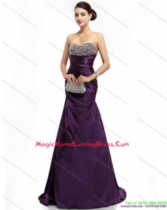 2015 Brush Train Homecoming Dress with Ruching and Beading