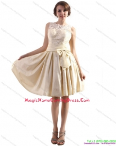 2015 High Neck Homecoming Dresses with Ruching and Bowknot