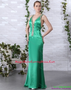 2015 Juniors Beading Long Homecoming Dresses with Brush Train