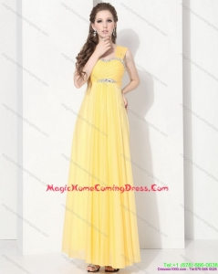 2015 Juniors Floor Length Homecoming Dresses with Ruching and Beading