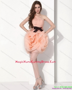 2015 Juniors One Shoulder Short Homecoming Dresses with Bowknot
