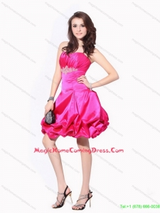 2015 Juniors Ruching Strapless Homecoming Dresses with Pick Ups and Appliques