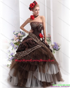 2015 Leopard Multi Color Homecoming Dresses with Hand Made Flowers