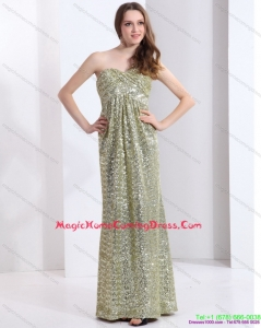 2015 One Shoulder Floor Length Sequined Homecoming Dress